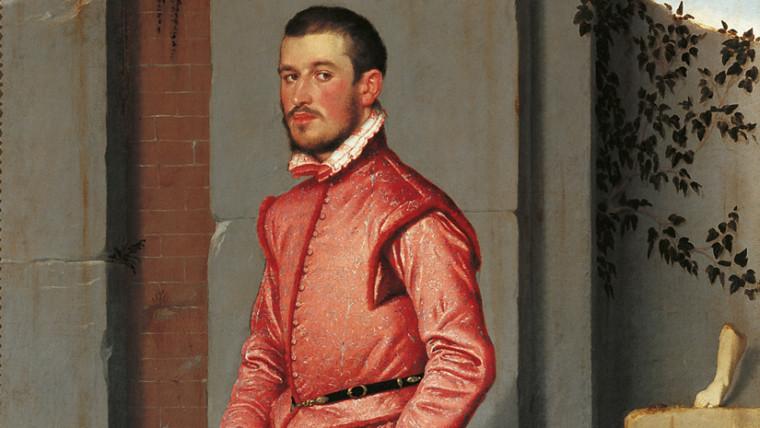 Giovan Battista Moroni, Il cavaliere in rosa, 1560, olio su tela 216 x 123 cm
