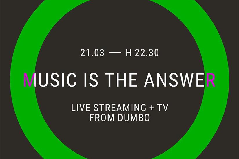 Music is the Answer, sabato 21 marzo tre ore di musica in diretta streaming dal binario centrale di Dumbo